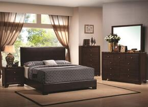 Conner 300261KEDMCN 5 PC Bedroom Set with King Size Bed + Dresser + Mirror + Chest + Nightstand in Cappuccino Finish