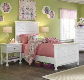 Kaslyn Twin Bedroom Set with Panel Bed and Nightstand in White