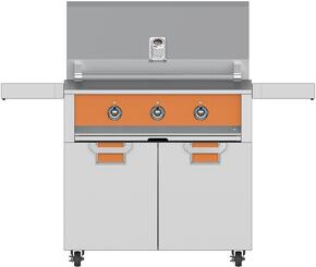 "Aspire Series 36"" Natural Gas Grill with ECD36OR Tower Grill Cart with Two Doors, in Citra Orange"