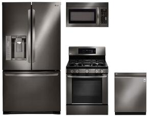 "4-Piece Kitchen Package with LFX25973D 36"" French Door Refrigerator, LRG3061BD 30"" Freestanding Gas Range, LMV1831BD 30"" Over the Range Microwave, and LDP6797BD 24"" Built In Fully Integrated Dishwasher in Black Stainless Steel"