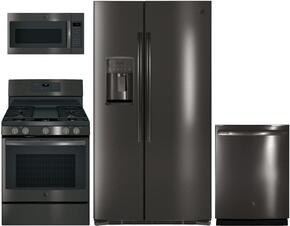 "4-Piece Black Stainless Steel Kitchen Package with GSE25HBLTS 36"" Side by Side Refrigerator, JGB700BEJTS 30"" Freestanding Gas Range, JVM7195BLTS 30"" Over the Range Microwave, and GDT655SBLTS 24"" Fully Integrated Dishwasher"