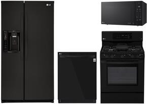 """4-Piece Kitchen Package with LSXS26326B 33"""" Side by Side Refrigerator, LRG3193SB 30"""" Freestanding Gas Range, LMC2075SB 24"""" Countertop Microwave, and LDP6797BB 24"""" Built In Fully Integrated Dishwasher in Black"""