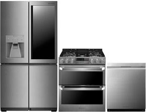 """4-Piece Stainless Steel Kitchen Package with LUPXS3186N 36"""" French 4 Door Refrigerator, LUTD4919SN 30"""" Slide-In Dual Fuel Range and LUDP8997SN 24"""" Fully Integrated Dishwasher"""
