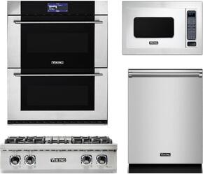"4-Piece Stainless Steel Kitchen Package with VRT5304BSS 30"" Gas Cooktop, MVDOE630SS 30"" Electric Double Wall Oven, VMOC206SS 24"" Countertop Microwave with 30"" Trim Kit, and VDW302SS 24"" Fully Integrated Dishwasher"