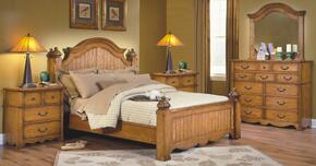 4431QBDMNN Hailey 5 Piece Bedroom Set with Queen Poster Bed, Dresser, Mirror and Two Nightstands, in Toffee