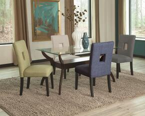 10650SET1 Andenne Dining Table Base and Glass Top in Cappuccino Finish with 4 Chairs in Fabric Upholstery