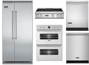 "5-Piece Stainless Steel Kitchen Package with VCSB5483SS 48"" Side by Side Refrigerator, VGRT7364GSS 36"" Gas Cooktop, VEDO5302SS 30"" Double Wall Oven, FDW302WS 24"" Dishwasher, and VDW302SS 24"" Fully Integrated Dishwasher"