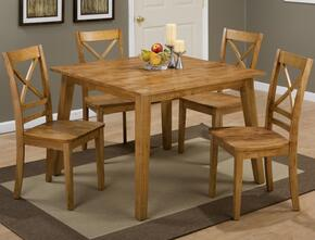 Simplicity Collection 45242XSET 5 PC Dining Room Set with Square Dining Table + 4 X-Back Chairs in Caramel Finish