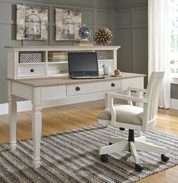 Sarvanny H583444801 3 PC Home Office Large Leg Desk + Desk Hutch + Chair in Two-Tone Cream and Natural Finish