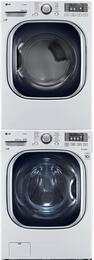 "White Front Load Laundry Pair with WM4370HWA 27"" Washer, DLGX4371W 27"" Gas Dryer, and KSTK1 Stacking Kit"