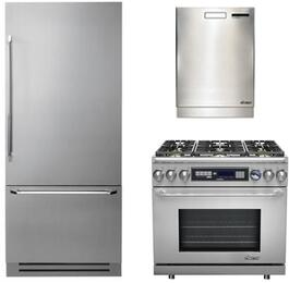 """3-Piece Stainless Steel Kitchen Package with DYF36BFTSL 36"""" Bottom Freezer Refrigerator, ER36DCLP 36"""" Dual Fuel Range, and a free RDW24S 24"""" Built In Fully Integrated Dishwasher"""