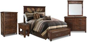 Riviera Collection HH-4280-6PC 6 PC Bedroom Set with Bed + Dresser + Mirror + Chest + End Table + Console in Walnut Finish