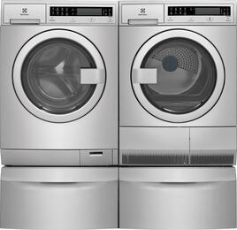 "Stainless Steel Front Load Compact Laundry Pair with EFLS210TIS 24"" Washer, EFDE210TIS 24"" Electric Dryer and 2 EPWD210TIS Pedestals"