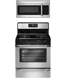 "2-Piece Stainless Steel Kitchen Package with FFGF3053LS 30"" Freestanding Gas Range and FFMV164LS 30"" Over the Range Microwave"