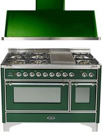 "2-Piece Emerald Green Kitchen Package with UM120FDMPVSX 48"" Freestanding Dual Fuel Range (Chrome Trim, 6 Burners, Griddle) and UAM120VS 48"" Wall Mount Range Hood"