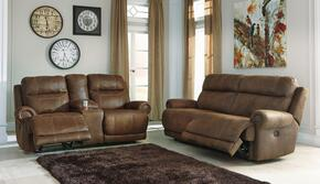 Austere 38400NSL 2-Piece Living Room Set with 2-Seat Reclining Sofa and Double Reclining Loveseat in Brown