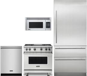 "4-Piece Stainless Steel Kitchen Package with VCRB5303LSS 36"" All Refrigerator, VDR5366BSS 36"" Gas Range, VMOR205SS 24"" Over the Range Microwave, and VDW302SS 24"" Fully Integrated Dishwasher"
