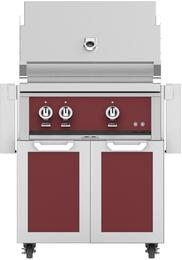 "30"" Freestanding Natural Gas Grill with GCD30BG Tower Grill Cart with Two Doors, in Tin Roof Burgundy"