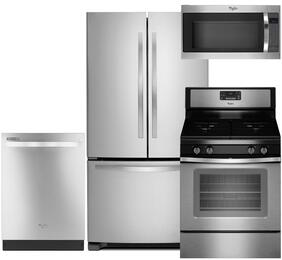 "4-Piece Stainless Steel Kitchen Package with WRF535SMBM 36"" Freestanding French Door Refrigerator, WFG515S0ES 30"" Freestanding Gas Range, WDT720PADM 24"" Fully Integrated Dishwasher and WMH53520CS 30"" Over-the-Range Microwave"