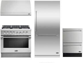 "4 Piece Kitchen Package With RDV2366L 36"" Dual Fuel Freestanding Range, DCS VS36 36"" Wall Mount Hood, RS36W80RJC1 36"" Built In Bottom Freezer Refrigerator and DD24DV2T7 24"" Dishwasher in Stainless Steel"
