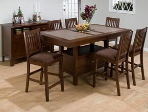 976-72TBKTSET7 Caleb Counter Height Table with Butterfly Leaf with 6 Barnes Stools