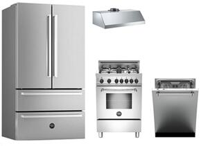 "4-Piece Stainless Steel Kitchen Package with REF36X 36"" French Door Refrigerator, MAS244GASXE 24"" Gas Freestanding Range, DW24XV 24"" Built In Dishwasher and  KU24PRO1XV 24"" Hood"