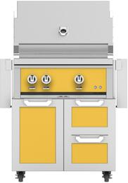 "30"" Freestanding Liquid Propane Grill with GCR30YW Tower Grill Cart with Double Drawer and Door Combo, in Sol Yellow"