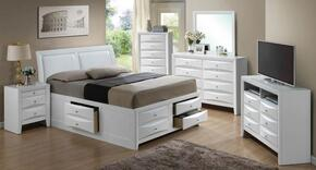 G1570IKSB4SET 6 PC Bedroom Set with King Size Storage Bed + Dresser + Mirror + Chest + Nightstand + Media Chest in White Finish