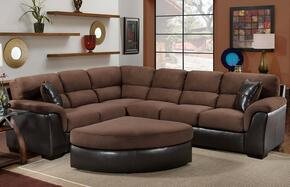 McLean Collection 75E3886365PO 2-Piece Living Room Set with Sectional Sofa and Pie Ottoman in San Marino Mocha and Chocolate