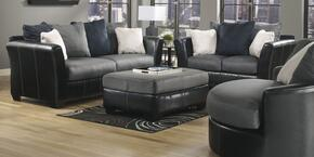 14200384PCKIT2 Masoli Two-Toned 4-Piece Living Room Set with Sofa, Loveseat, Swivel Accent Chair, and Ottoman in Cobblestone