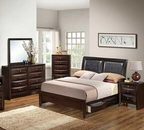 G1525DDQSB2DMN 4 Piece Set including  Queen Size Bed, Dresser, Mirror and Nightstand in Cappuccino