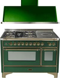 "2-Piece Emerald Green Kitchen Package with UM120SDMPVSY 48"" Freestanding Dual Fuel Range (Oiled Bronze Trim, 5 Burners, French Cooktop) and UAM120VS 48"" Wall Mount Range Hood"