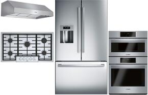 "4-Piece Stainless Steel Kitchen Package with B26FT50SNS 36"" French Door Refrigerator, NGM8655UC 36"" Gas Cooktop, DPH36652UC 36"" Under Cabinet Hood, and HBL57M52UC 30"" Double Wall Oven"