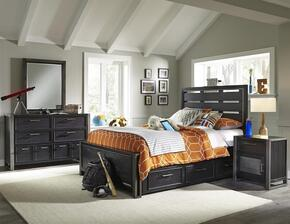 Graphite 8942401530531BDMND 5 PC Bedroom Set with Twin Size Bed + Dresser + Mirror + Nightstand + Underbed Storage Drawers in Black Color