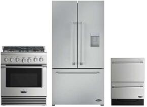 "3 Piece Stainless Steel Kitchen Package With RDV2305N 30"" Gas Freestanding Range, RF201ACUSX1 36"" French Door Refrigerator and DD24DV2T7 24"" Drawers Dishwasher"