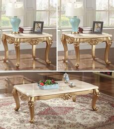 Bennito Collection 2763PCRC2SEKIT1 3-Piece Living Room Table Sets with Coffee Table, and 2x End Table in Rich Gold