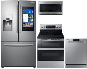 "4-Piece Stainless Steel Kitchen Package with RF265BEAESR 36"" French Door Refrigerator, NE59M6850SS 30"" Electric Range, DW80M9550US 24"" Fully Integrated Dishwasher and ME21K7010DS 30"" Over-the-Range Microwave"
