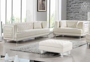 Lucas Collection 6092PCSTLKIT3 2-Piece Living Room Sets with Stationary Sofa, and Loveseat in Cream