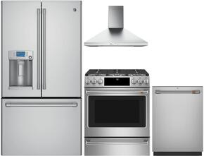 "4-Piece Stainless Steel Kitchen Package with CFE28USHSS 36"" French Door Refrigerator, CGS986SELSS 30"" Slide In Gas Range, JVW5301SJSS 30"" Wall Mount Hood, and CDT835SSJSS 24"" Dishwasher"