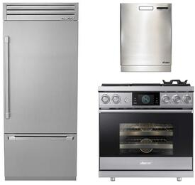 "3-Piece Stainless Steel Kitchen Package with DYF36BFTSR 36"" Bottom Freezer Refrigerator, DOP36M94DHS 36"" Freestanding Dual Fuel Range, and a free RDW24S 24"" Built In Fully Integrated Dishwasher"
