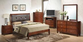 G1200AKBDMNTV  5 Piece Set including King Bed, Dresser, Mirror, Nightstand and Media Chest with Padded HeadBoard,  Wood frame and Tapered Legs in Cherry