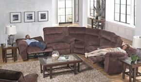 Nichols Collection 61671-8-9-2312-39 3-Piece Sectional with Power Reclining Sofa, Corner Wedge and Power Reclining Loveseat in Chestnut
