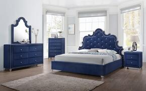 Caroline Collection CAROLINEQPBDMNC 5-Piece Bedroom Set with Queen Panel Bed, Dresser, Mirror, Single Nightstand and Chest in Navy