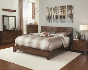 Yorkshire Collection 204851KE Rustic King Bed, Night Stand, Dresser and Mirror in Dark Amber & Coffee Bean Finish