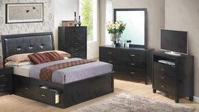 G1250BKSBDMTV 4 Piece Set including King Size Storage Bed, Dresser, Mirror and Media Chest  in Black