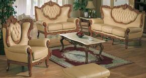 2118KHAKIS3SET Traditional 3 Piece Livingroom Set, Sofa + Loveseat + Chair in Khaki with Glossy Walnut Finish