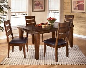 D4424501 Larchmont Extension Dining Table with Four Chairs, Leaf, Thick Built-Up Edge, Solid Hardwoods and Two-Sided Taper Shape Legs in Dark Brown