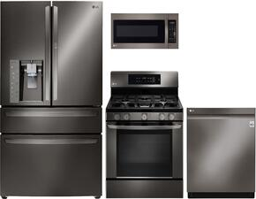 "4 Piece Kitchen Package With LRE3061BD 30"" Gas Freestanding Range, LMV2031BD Over The Range Microwave Oven, LMXS30776D 36""  French Door Refrigerator and LDF7774BD 24"" Built In Dishwasher in Black Stainless Steel"