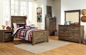 Trinell Twin Bedroom Set with Panel Bed, Dresser, Mirror and Nightstand in Brown