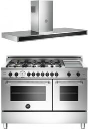 "Bertazzoni Stainless Steel 2-Piece Kitchen Package With MAS486GGASXT 48"" Master Series Gas Freestanding Range and KG48CONX 48"" Wall Mount Range Hood For 50% Off"